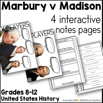 Marbury v Madison Interactive Notes Pages with Google Drive Option