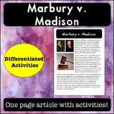 Marbury v. Madison Reading Passage and Activities