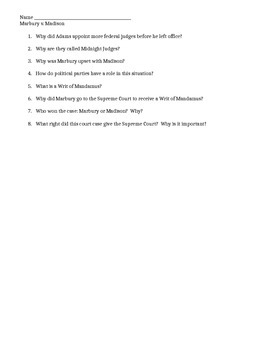 Marbury v. Madison Worksheet