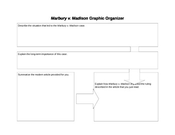 Marbury v. Madison and Current Events Graphic Organizer