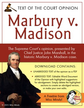 Marbury v. Madison - full & abridged text John Marshall's Supreme Court Opinion