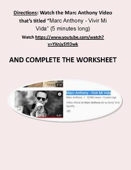 "Marc Anthony Youtube ""Vivir mi vida"" Internet Assignment"