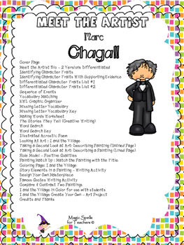 Marc Chagall - Meet the Artist - Artist of the Month - Lit Unit Printables