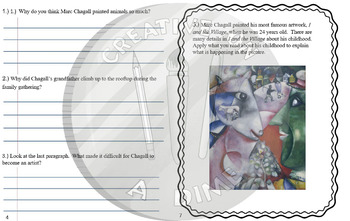 Marc Chagall Reading Comprehension and Art Analysis