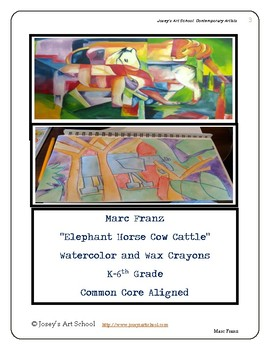 Marc Franz German Artist Elephant Art Cubist lesson K 6th Grade ELA Core