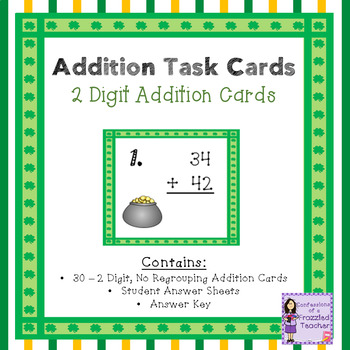 March 2 Digit, No Regrouping Addition Task Cards
