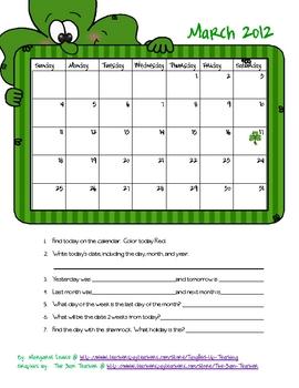 March 2012 Calendar Activity Freebie
