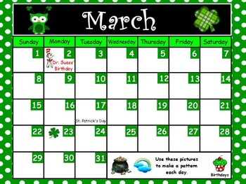March 1st Grade Calendar Activities for ActivBoard