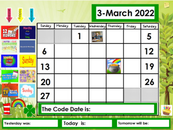 March 2018 Calendar for the Promethean Board (ActivBoard)