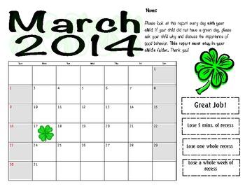 March 2014 Behavior Log