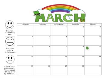 March 2017 Behavior Calendar
