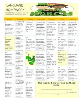 March 2015 Language Calendar