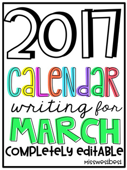March 2017 Calendar Writing