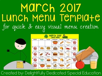 March 2017 Lunch Menu Template for Special Education or Early Elementary