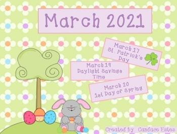 March 2017 Morning Math Calendar (Spring theme)