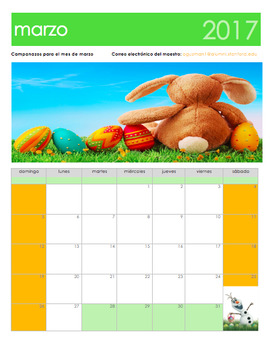 March 2017 Calendar in Spanish. Calendario Gratis de marzo 2017 en español