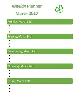 March 2017 Student Weekly Planner