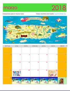 March 2018 Calendar in Spanish. Calendario Gratis de marzo 2018 en español