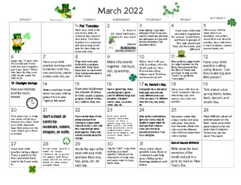 March 2018- Early Learning Calendar