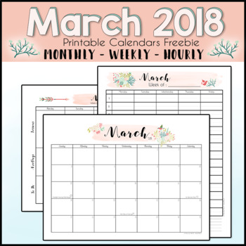 graphic about Printable Hourly Calendar named March 2018 Printable Month to month, Weekly, and Hourly Calendars