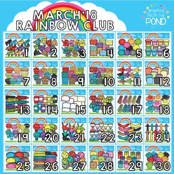 March 2018 Rainbow Club Clipart Bundle