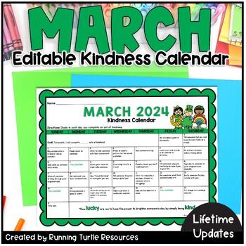 Act Calendar 2020 March Kindness Calendar *Editable* (UPDATED for 2020!) | TpT