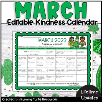 Kindness Calendar 2021 March Kindness Calendar *Editable*   Updated for 2021   TpT