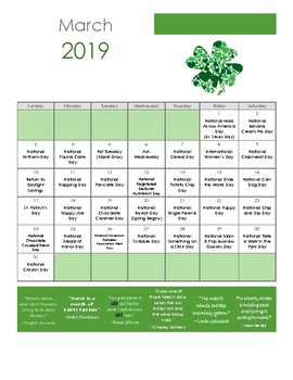 National Days 2019 Calendar March 2019  National Day calendar by Trinity Speech and Language