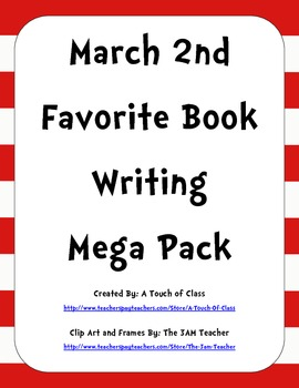 March 2nd Favorite Book Writing Pack