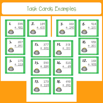 March 3 Digit, No Regrouping Addition Task Cards