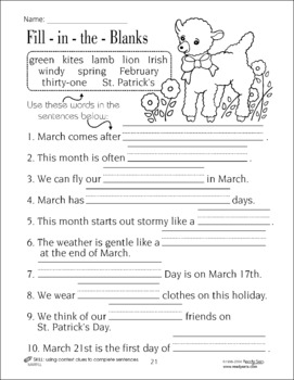 March 32-Page Thematic Lesson Plans Booklet