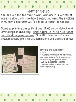 March 3rd Grade Math Review Stations