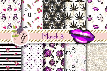 March 8 Feminine Seamless Pattern Set. Digital paper pack.