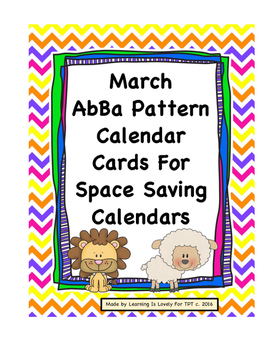 March Calendar Cards in ABCD Pattern. Fits Regular and Sma