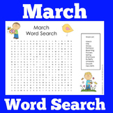 March Word Search | March Wordsearch | March Worksheet
