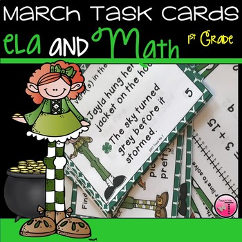March Activities ELA and Math Task Cards for First Grade