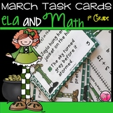 ELA and Math Task Cards for First Grade| March Activities