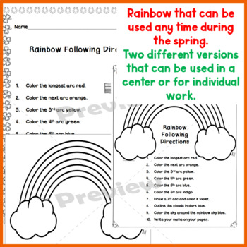 Read And Follow Directions Activities March Leprechaun And Rainbow 1st 2nd