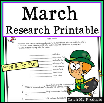 March Activities : Research Printable for Famous People Born in March