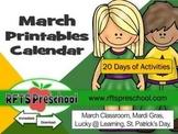 March Printables Calendar + (BONUS) Teacher Classroom Files