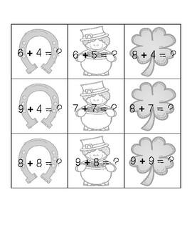 March Addition & Subtraction Facts Calendar Activity