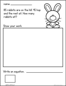 March Addition Word Problems First Grade