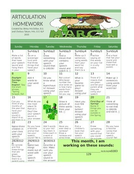 March Articulation Calendar