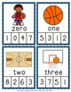 March Basketball Number Words Clip Cards