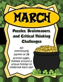 March Brain Teasers and Critical Thinking Challenges- Enrichment Folder