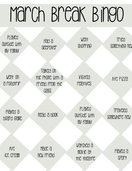 March Break Bingo