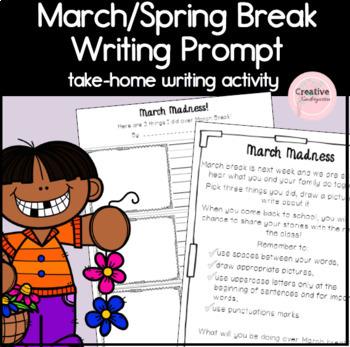 March Break and Spring Break Writing Prompt for Kindergarten