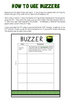 Buzzer Packet MARCH (Bell Work-Journal) Common Core Writing Prompts