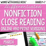 March COMBO Differentiated Nonfiction Close Reading Texts and Questions