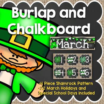 March Calendar: Burlap and Chalkboard